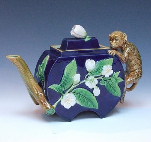 Large George Jones majolica teapot