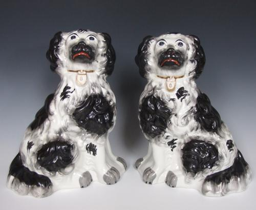 Large early 19thC Staffordshire spaniels