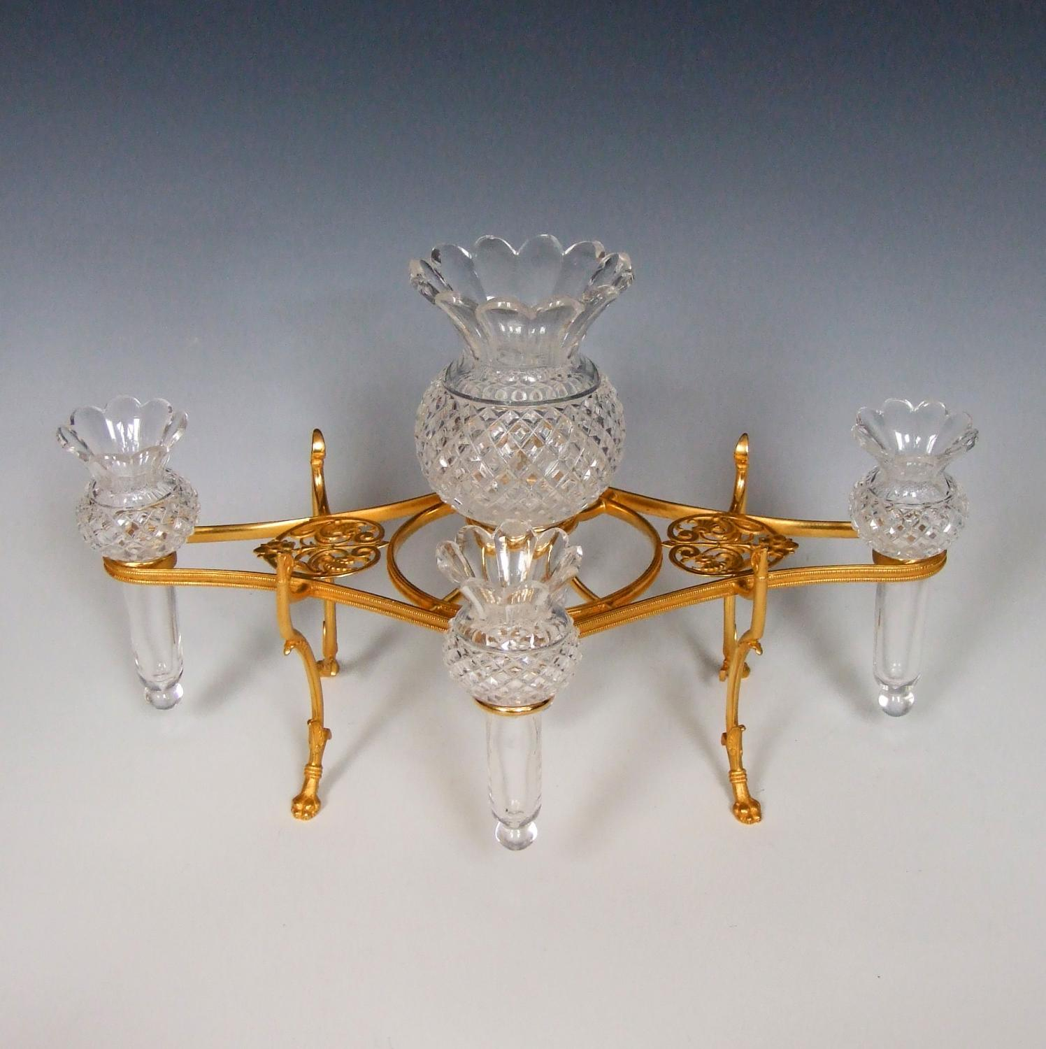 Fine Osler ormolu and cut crystal epergne