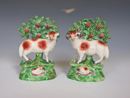Early 19thC Staffordshire sheep & lamb groups