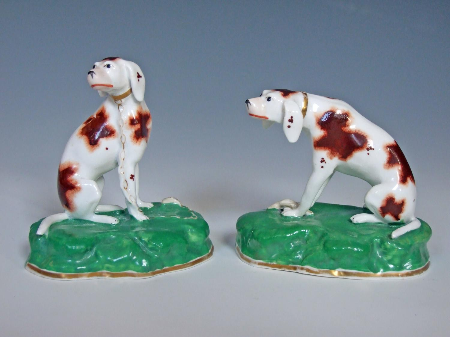 Fine pair of early 19thC Staffordshire hounds