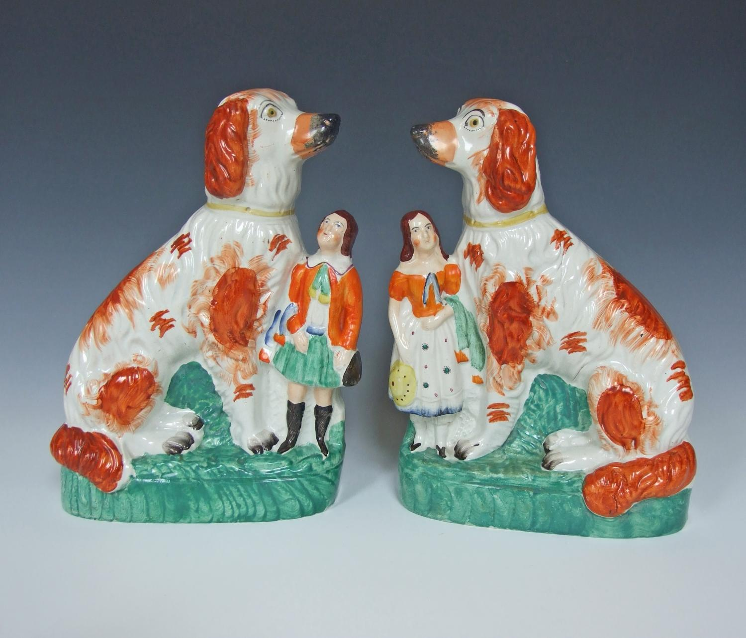 Large Staffordshire Afghan hounds & children
