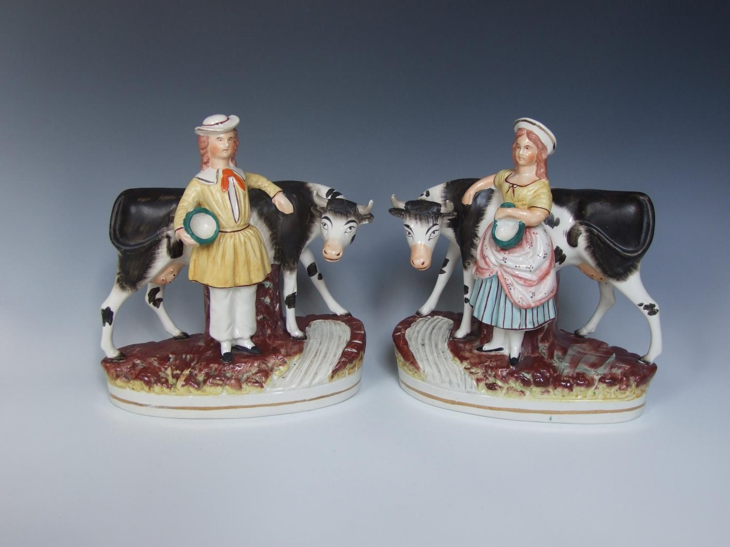 Large Staffordshire cow & herder figures