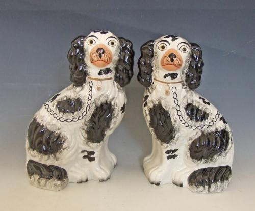 Fine pair of #2 size Staffordshire spaniels