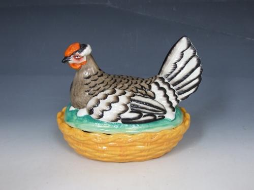 Staffordshire grey hen on yellow base tureen