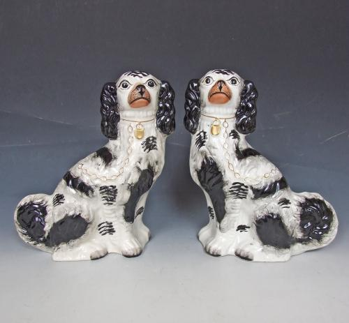 Fine pair of #1 size Staffordshire spaniels
