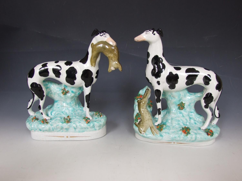 Turquoise base Staffordshire greyhounds
