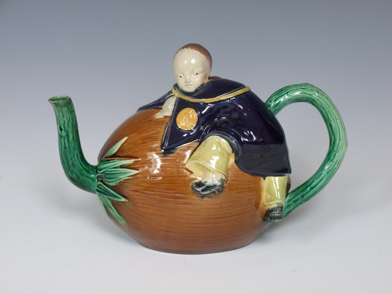 Holdcroft majolica chinaman teapot