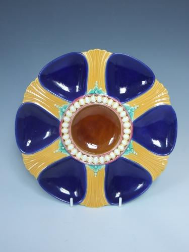 Brown Westhead & Moore majolica oyster plate