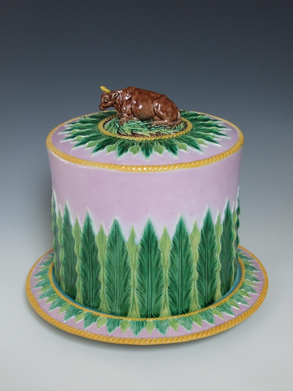 George Jones majolica cow finial cheese dish
