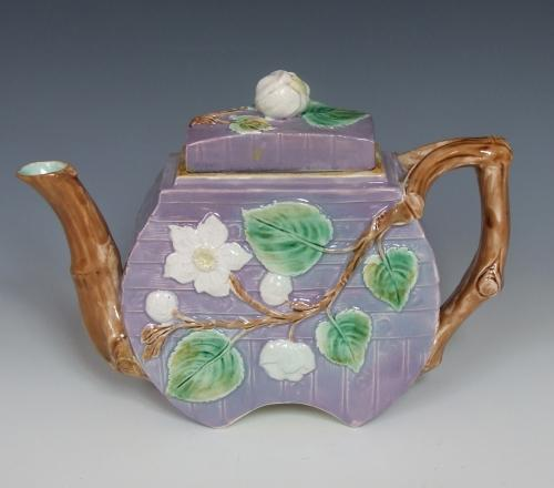 Lilac ground majolica teapot