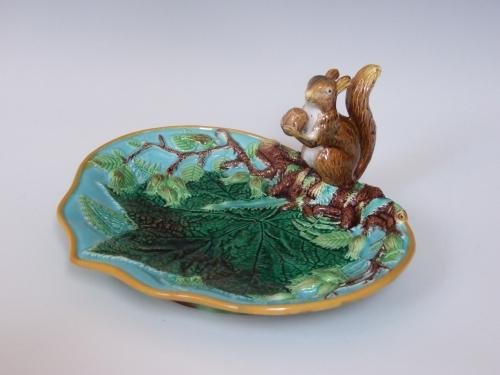 George Jones majolica squirrel nut dish