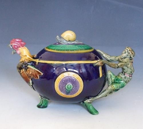 Minton majolica monkey & rooster teapot