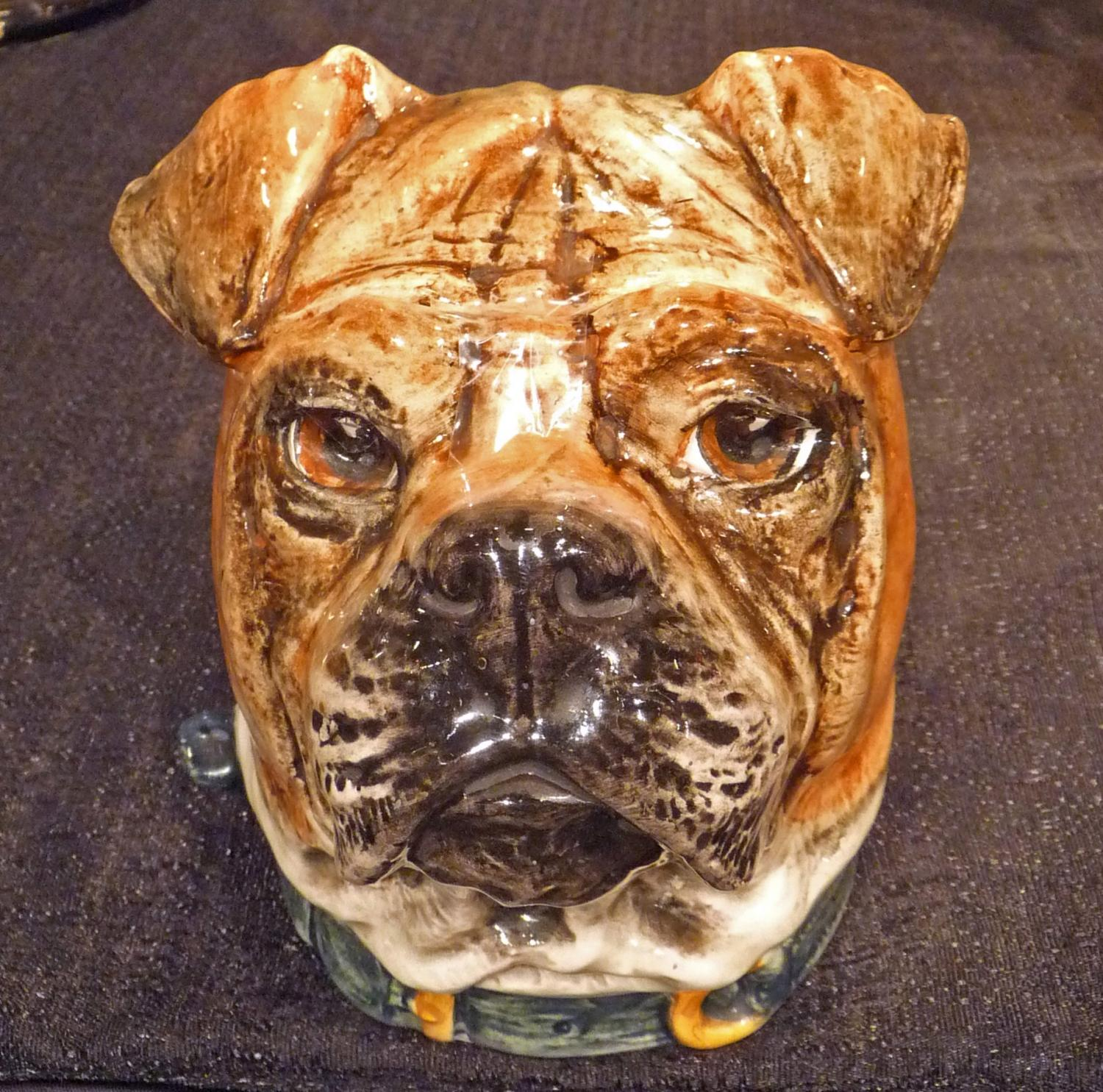 Unusual majolica bulldog head box