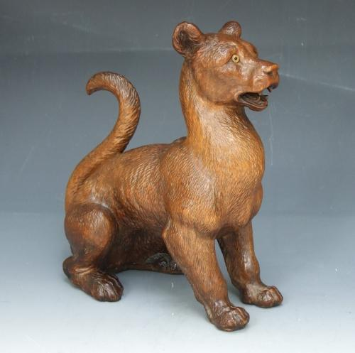 Rare Black Forest lioness figure