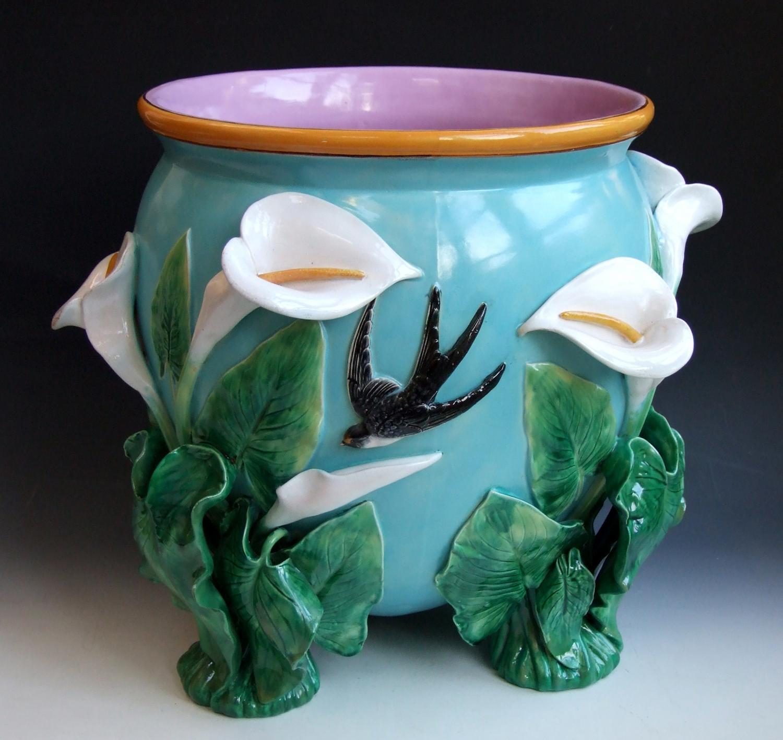 George Jones majolica Calla lily jardiniere