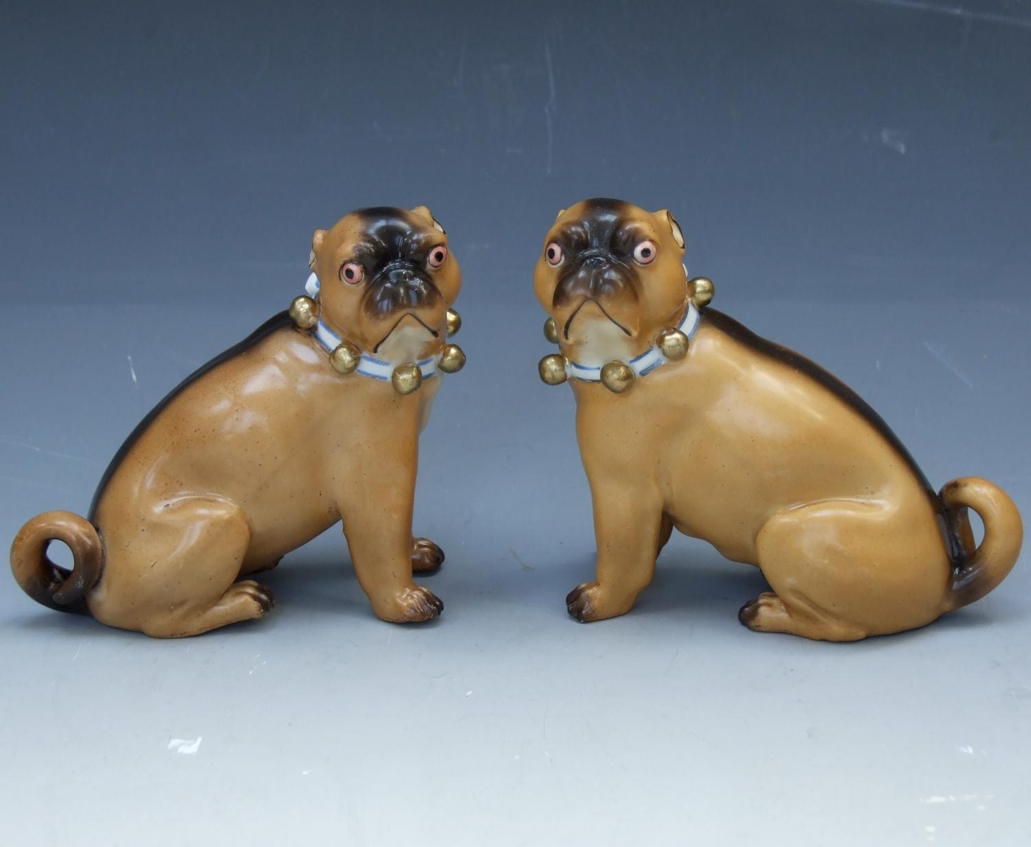 Pair of Ernst Bohne porcelain pugs