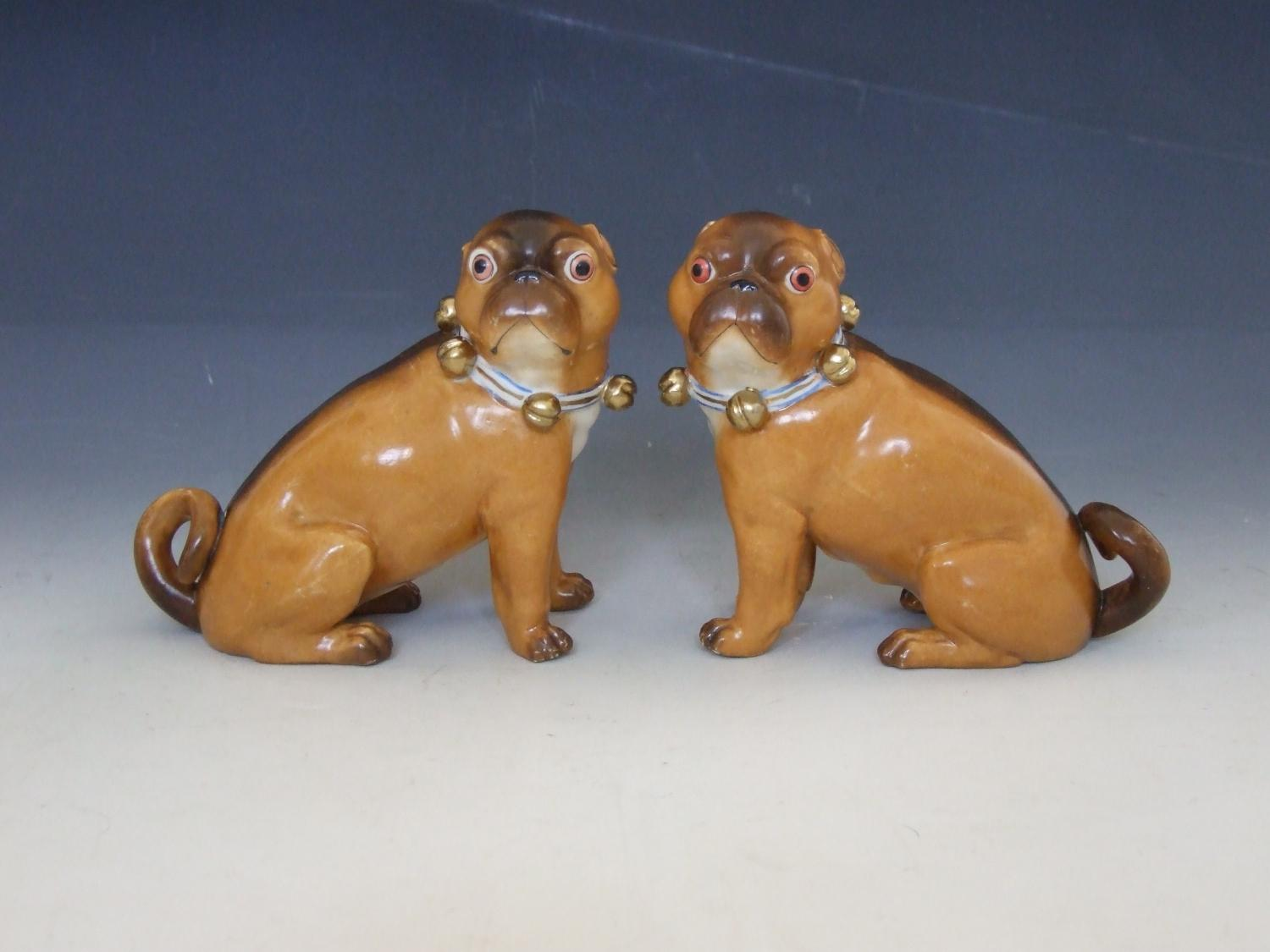 Pair of Ernst Bohne porcelain sitting pugs
