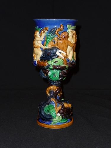 Brownfield majolica sea deities goblet