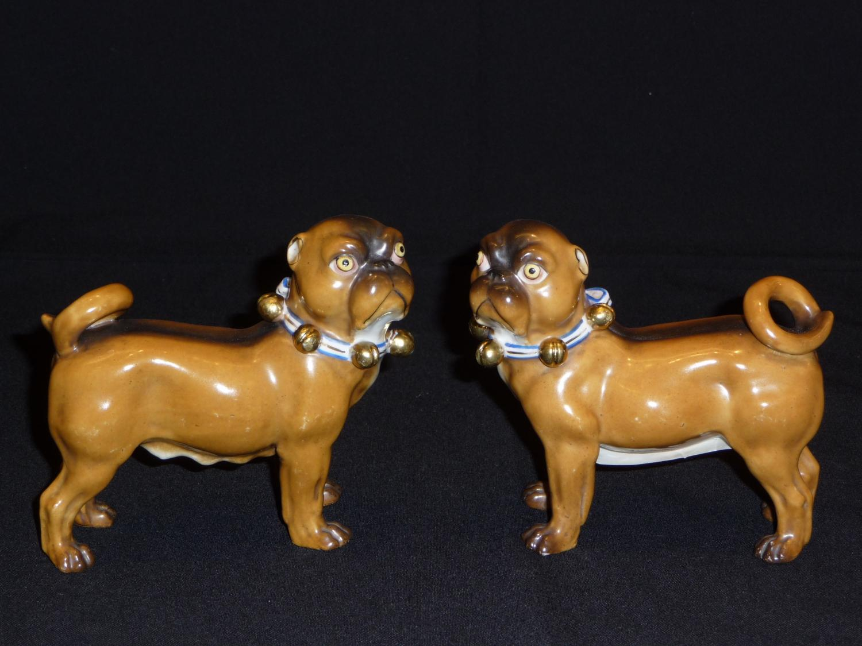 Pair of Ernst Bohne porcelain standing pugs