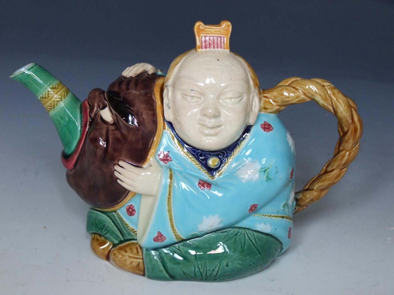 Minton majolica 'chinaman' teapot