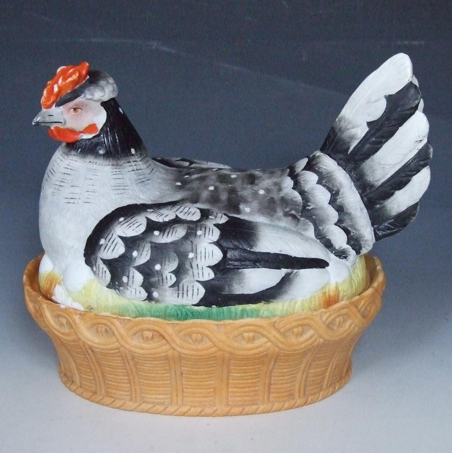Large French bisque hen on nest