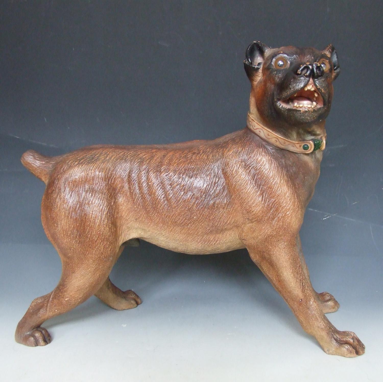 Life size terracotta mastiff figure