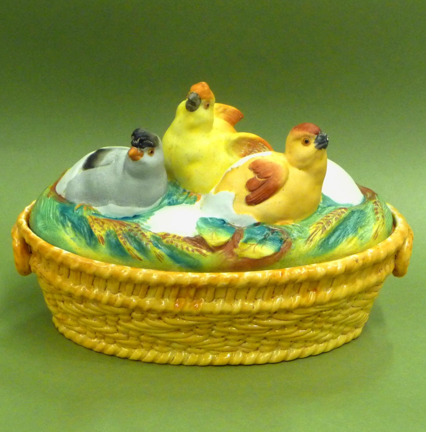 Rare chick & egg bisque tureen