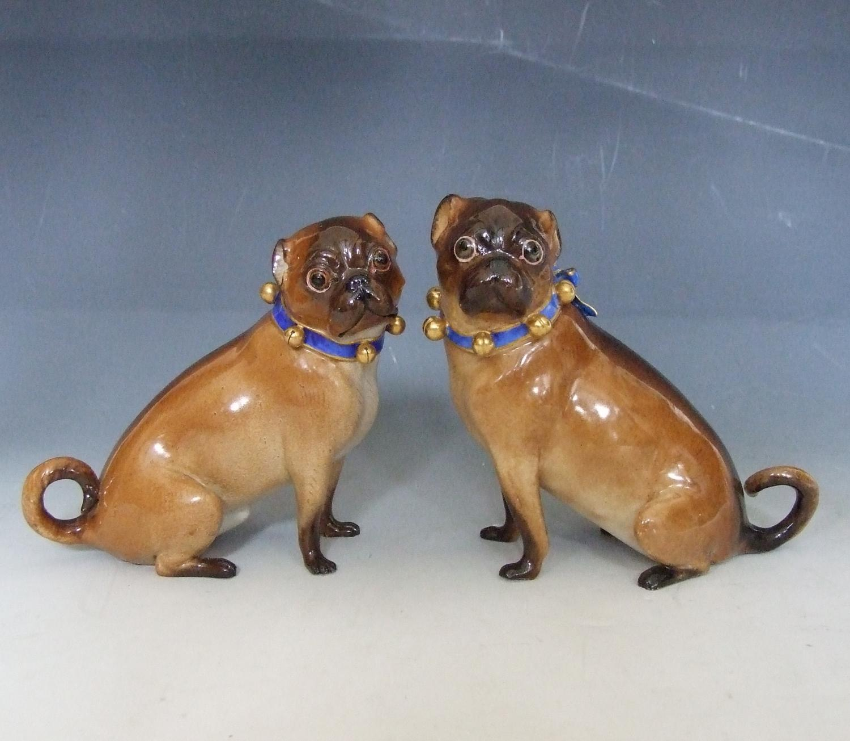 Pair of Potschappel porcelain pugs