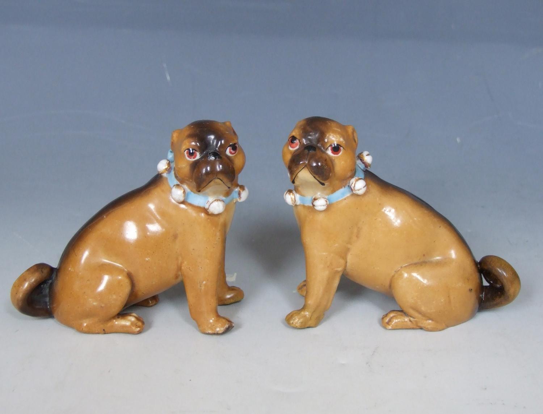 Small pair of Ernst Bohne porcelain pugs