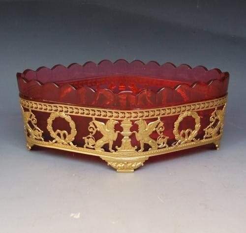 Ormolu and ruby glass bonbon dish