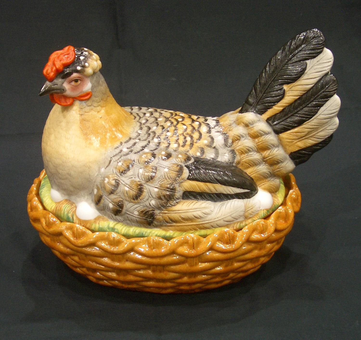 Large French bisque hen on nest tureen