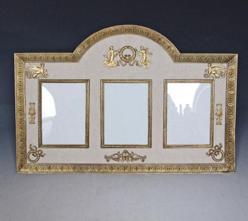 Rare large triple ormolu Empire style frame