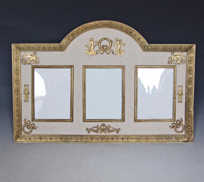 Rare large triple ormolu Empire style frame
