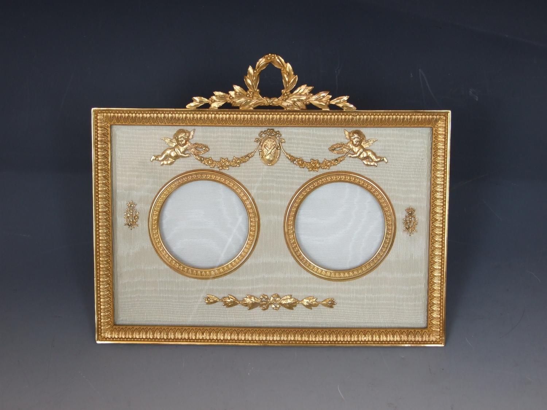 Empire style ormolu double photo frame