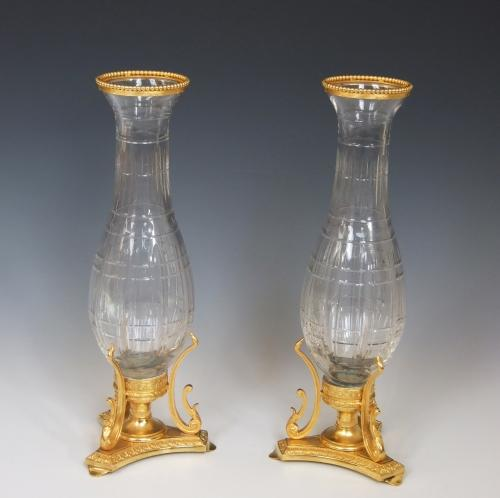 Pair of cut crystal and ormolu vases
