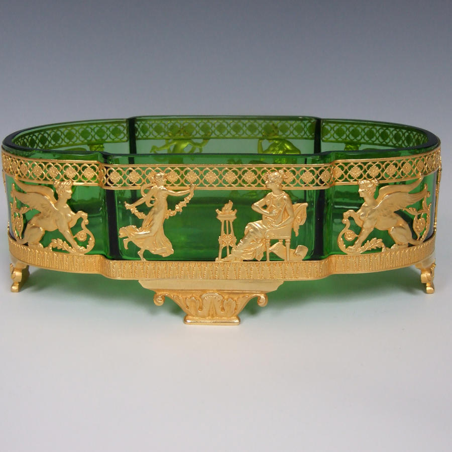 Green glass & ormolu Empire style bonbon dish