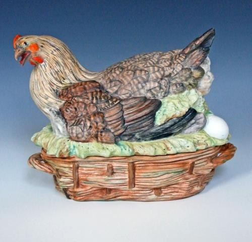 Rare large French bisque hen tureen