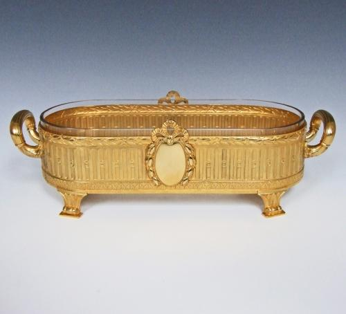 Large ormolu and cut glass bonbon dish