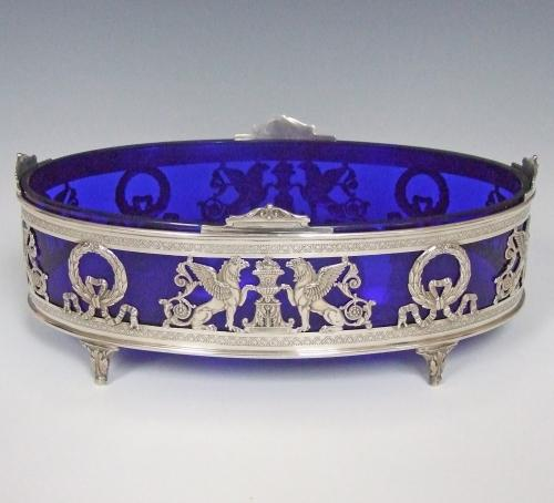 Rare solid silver and cobalt blue bonbon dish