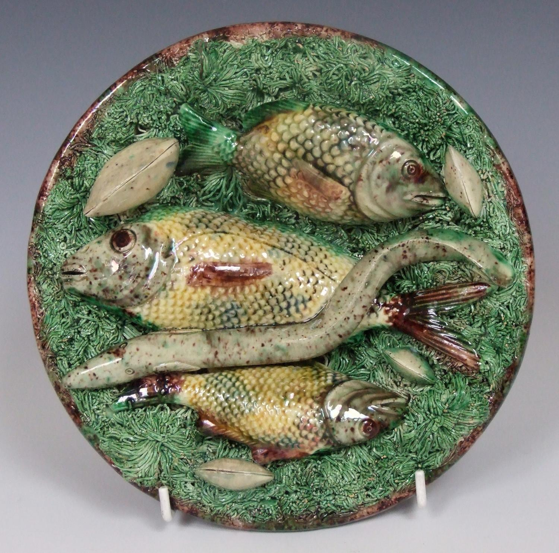 Portuguese Palissy fish & eel plate