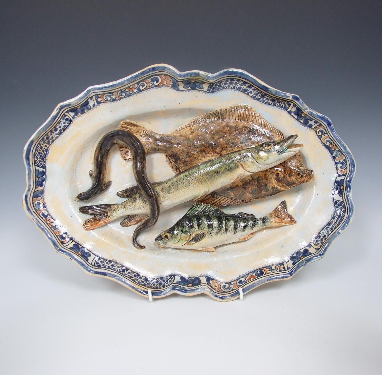 Landais trompe l'oeil Palissy fish plate