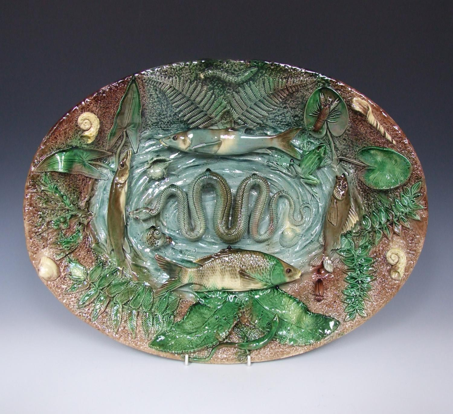 Large Francois Maurice Palissy fish platter