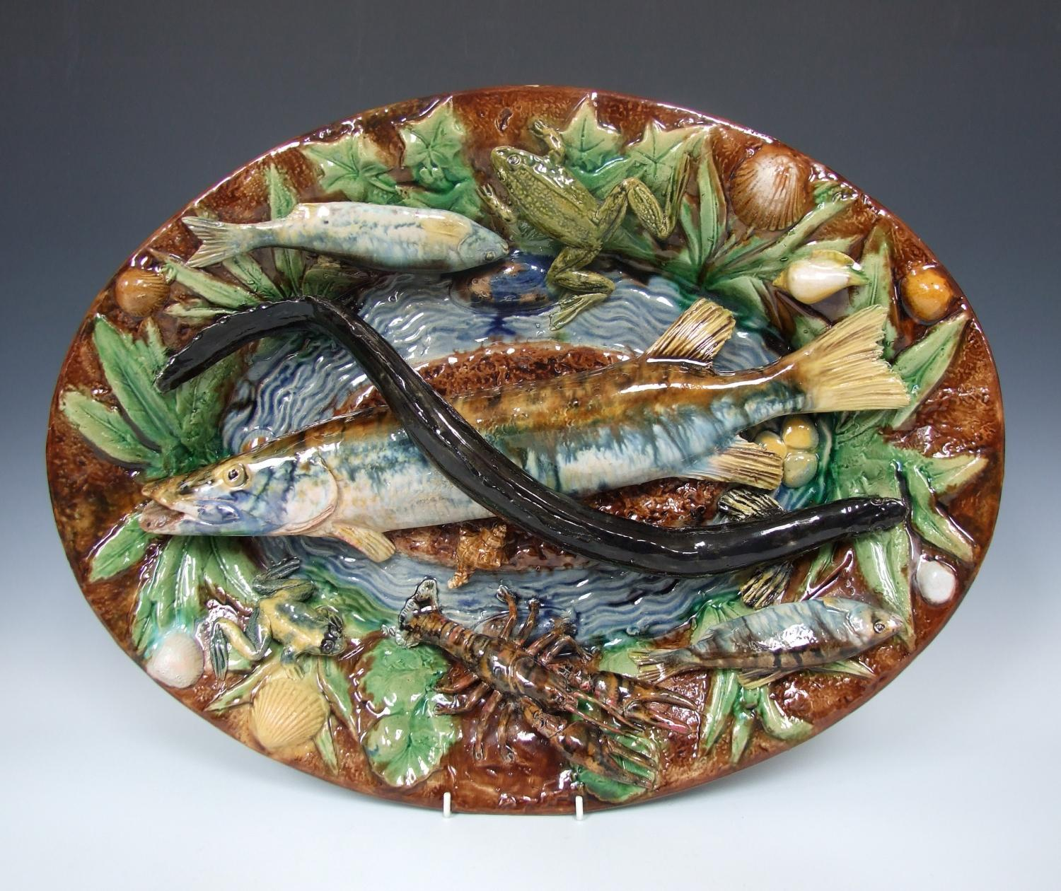 Large Palissy fish charger by Goras