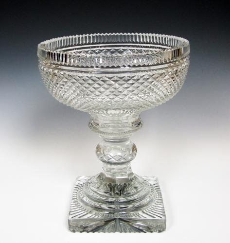 Fine Regency cut crystal footed punch bowl