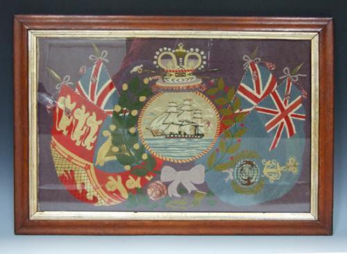 Sailor's ship & flag woolwork