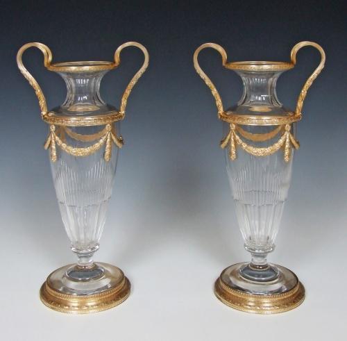 Stunning pair of cut crystal & ormolu vases
