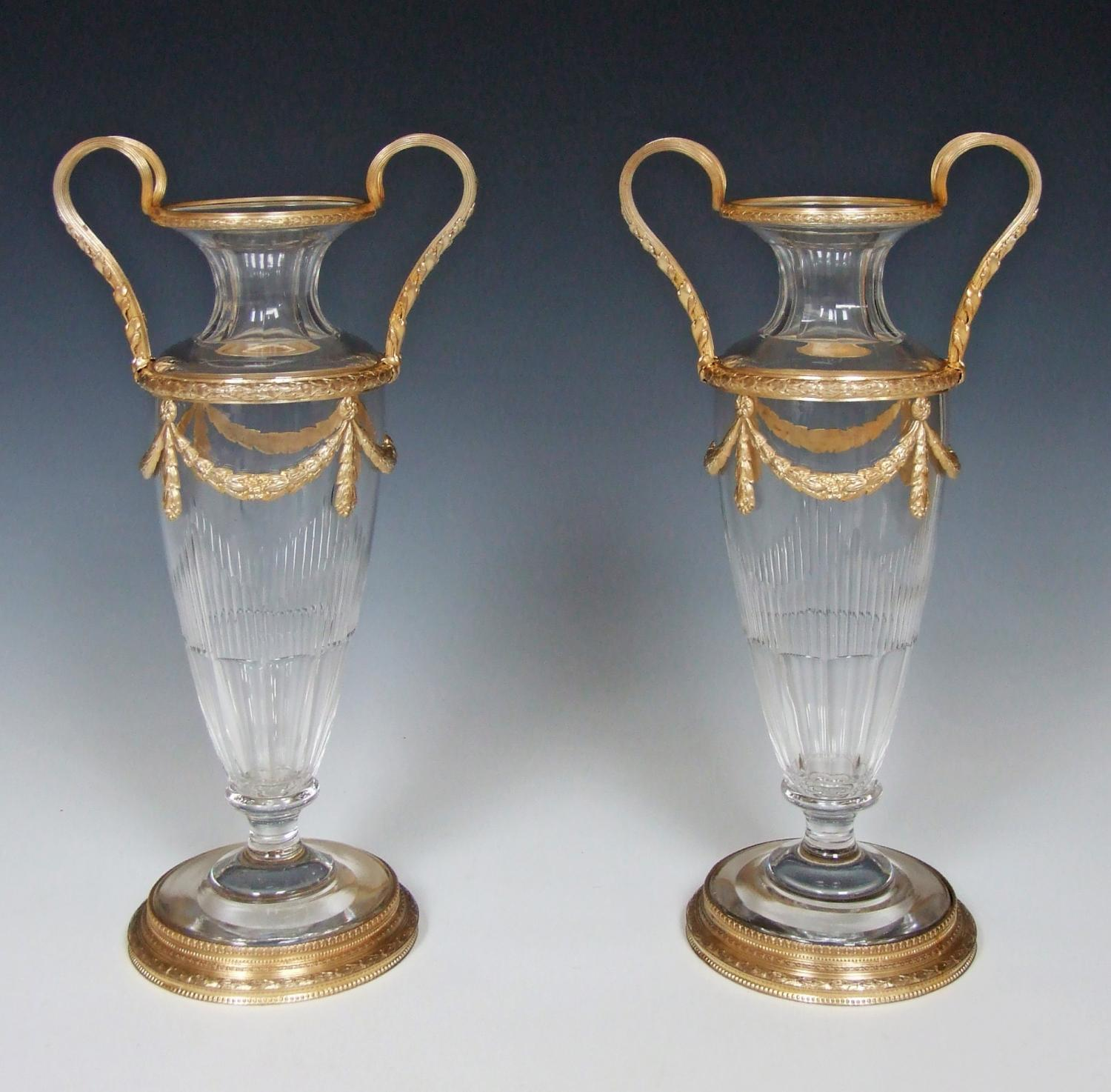 Stunning pair of cut crystal & ormolu vases