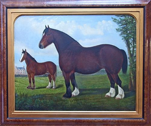 Fantastic large naive shire horse portrait