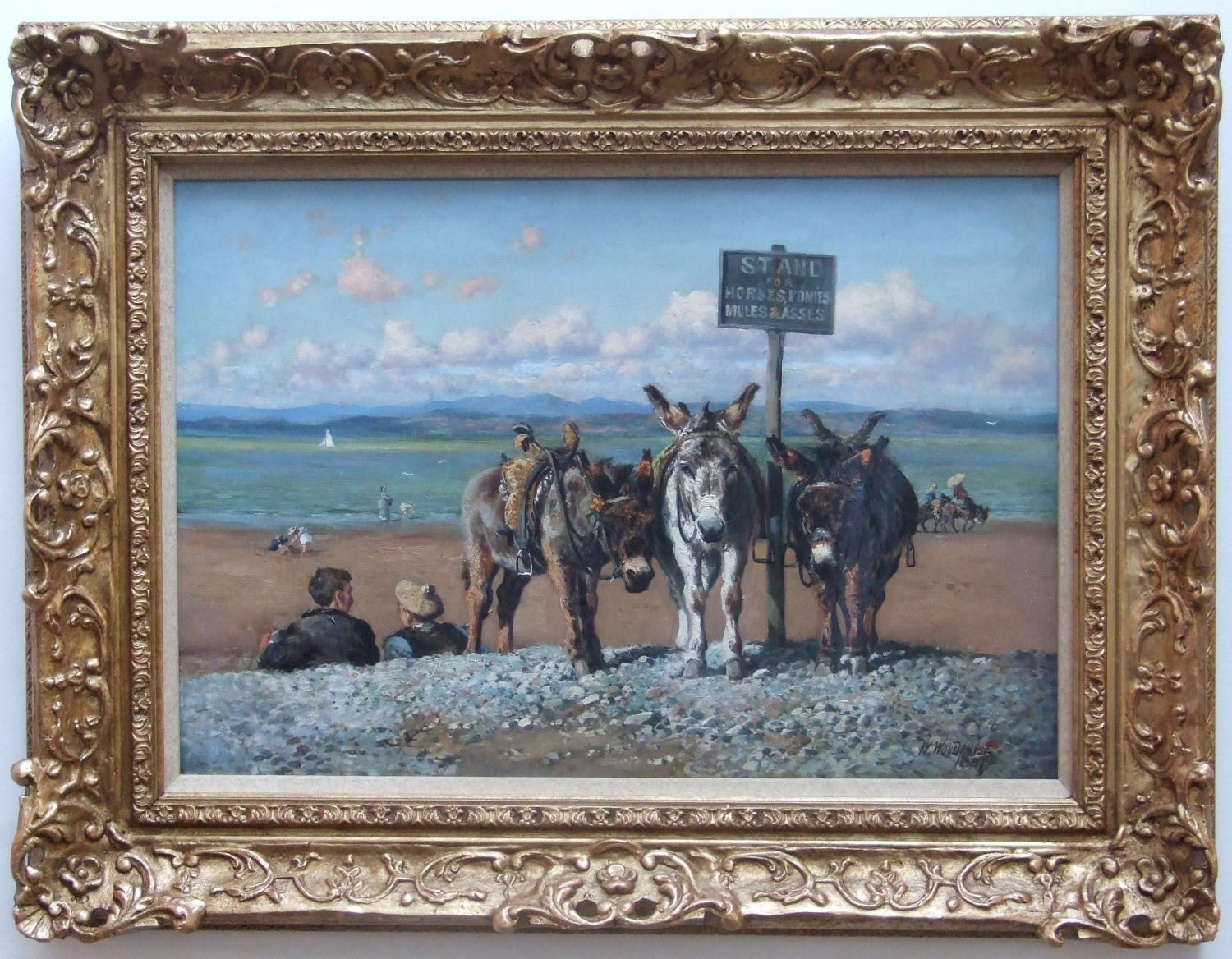 Oil on canvas of a beach donkey ride by William Woodhouse